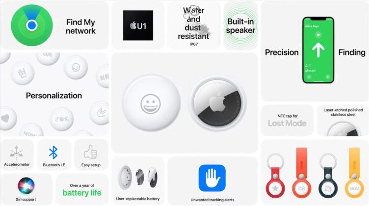 Apple анонсировала трекеры AirTag для поиска вещей и домашних животных