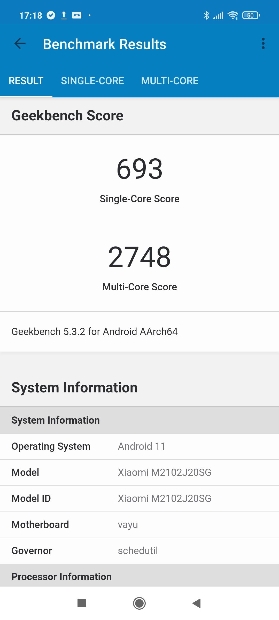 Тест Geekbench - Poco X3 Pro