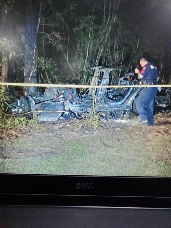 Автомобиль Tesla S врезался в дерево