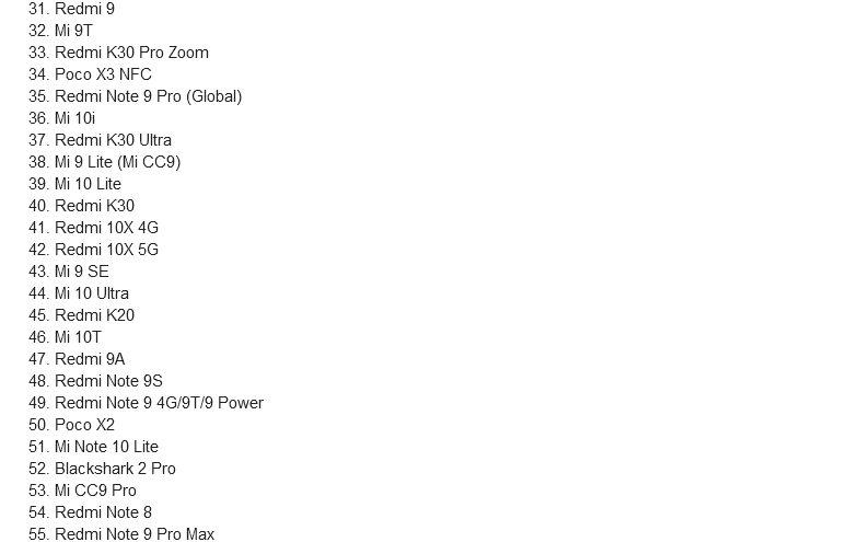 Новый список смартфонов Xiaomi, претендующих на получение Android 11 в этом году