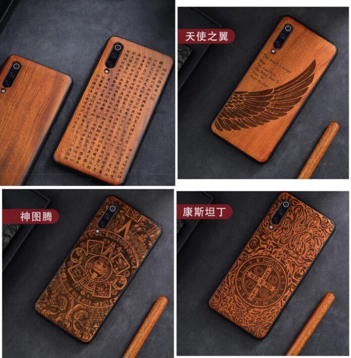Деревянные чехлы для смартфонов Xiaomi ,Redmi и Poco с оригинальными рисунками по цене в районе 200 грн