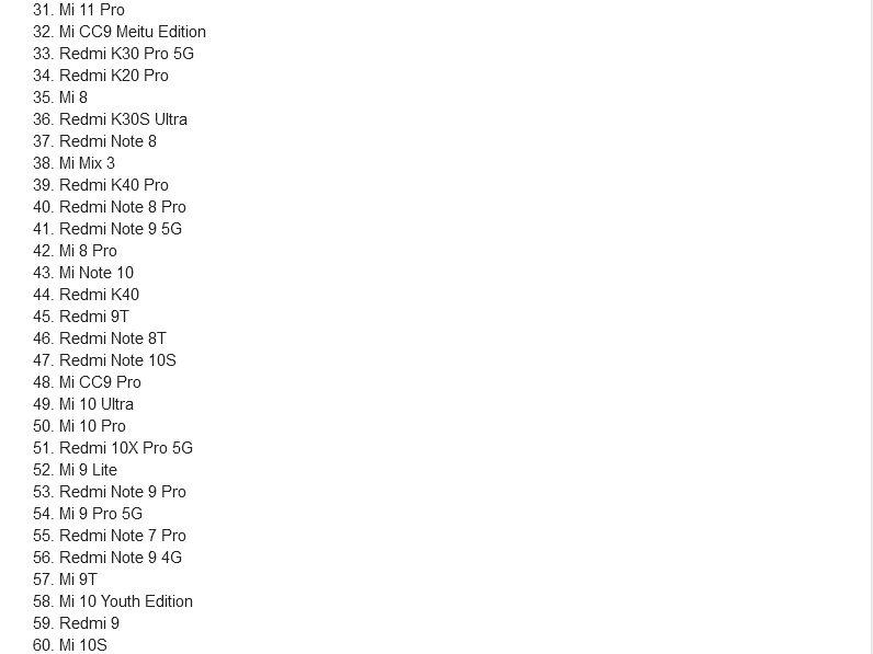 Свежий список получателей MIUI 12.5 в 2021 году