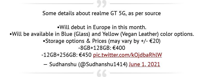 Відома європейська вартість і дизайн Realme GT 5G зі Snapdragon 888