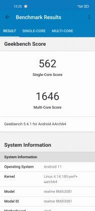 GeekBench - realme 8 Pro