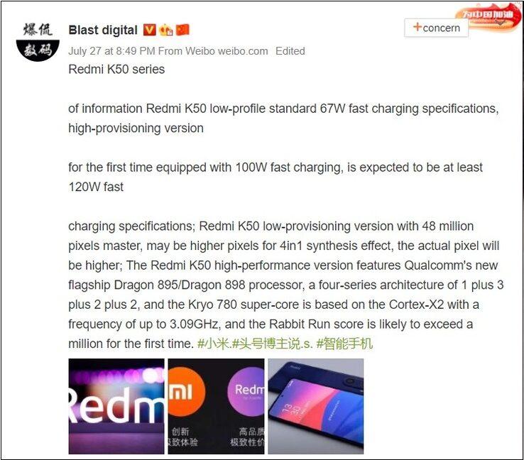 Новые подробности о перспективных смартфонах Redmi K50 и Redmi K50 Pro