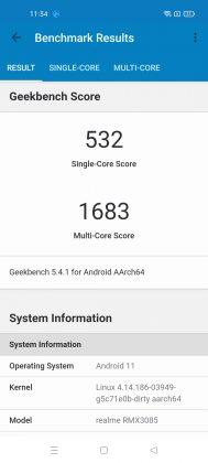 GeekBench - realme 8