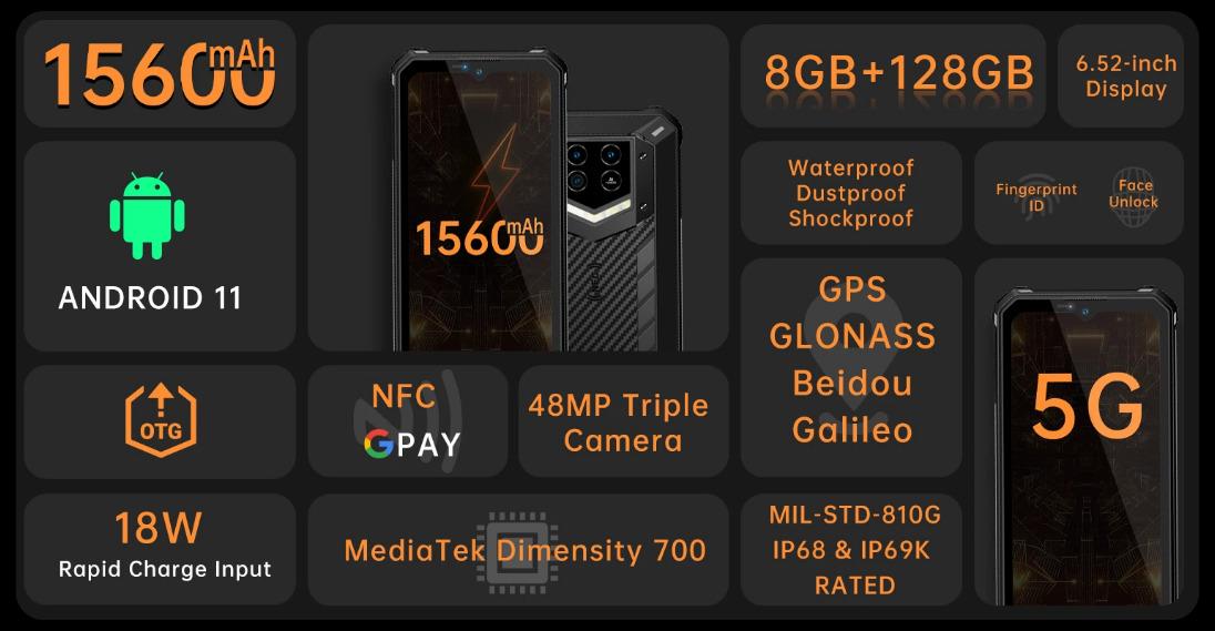 Oukitel WP15 5G: новый сверхзащищенный смартфон с 54-дневной автономностью и возможностью ведения съемки под водой всего за 8 500 гривен