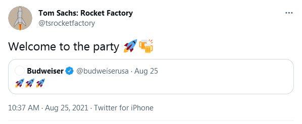 Токен в виде «ракеты на пиве» за более чем $25 704 и домен за $96 600: первые шаги Budweiser на криптовалютном рынке