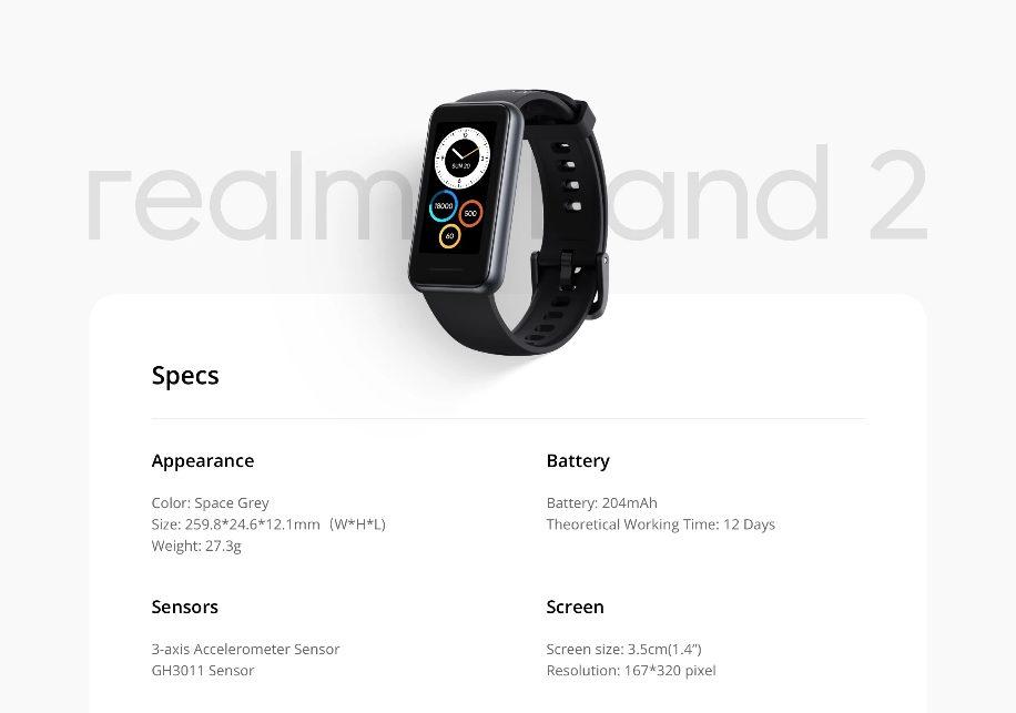 Realme Band 2 – недорогой фитнес-трекер с 12-дневным временем автономной работы, отслеживанием сердечного ритма и мониторингом содержания кислорода в крови