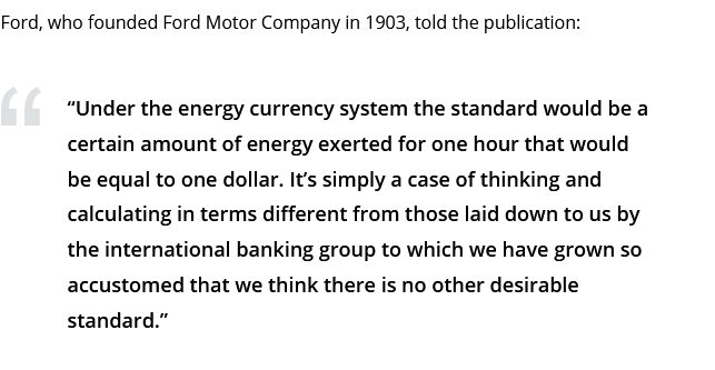 В библиотеке Конгресса США нашли статью, в которой Генри Форд рассуждал о целесообразности создания «энергетической валюты» в противовес золоту (фото)