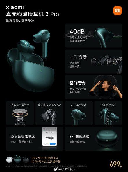Xiaomi True Wireless Noise Canceling Headphone 3 Pro